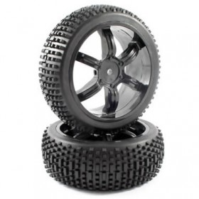 FTX Narrow Block Tyres Mounted On 6-spoke Wheels For The Hpi Baja
