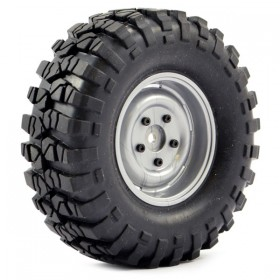 FTX Outback Pre-mounted Steel Lug/tyre (2) - Grey